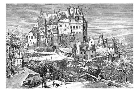 Germany - Winter view of gothic Eltz castle nestled above the Moselle river built in the XII century, vintage engraving