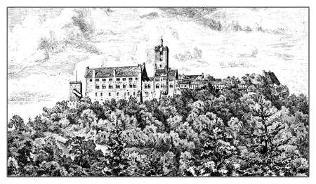Germany, vintage engraving of Wartburg castle in Thuringia built in XI century Stock Photo