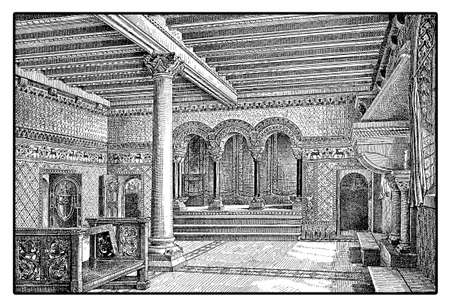 Vintage engraving of the landgrave of Thuringia room in Wartburg castle - Germay  built in XI century Stock Photo