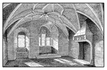 Vintage engraving of a hall of gothic Eltz castle nestled above the Moselle river built in the XII century