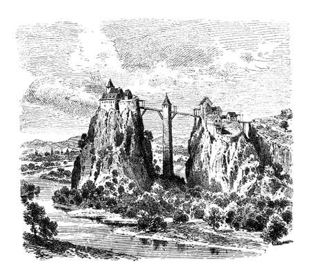 Germany, vintage engraving of Wildenstein castle on Danube river, built as fortress in XII-XIII century