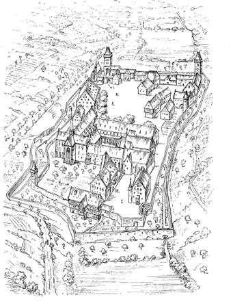 Maulbronn Monastery plan,  Roman Catholic Cistercian Abbey in Germany founded in year 1147