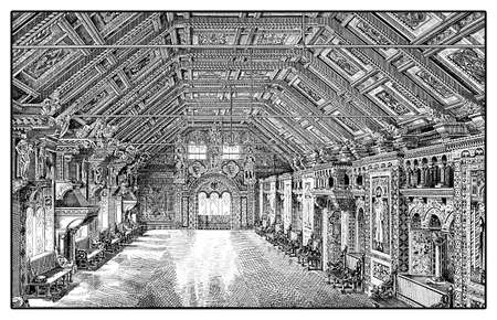 Vintage engraving of the fest und weapon hall of Wartburg castle in Thuringia - Germay  built in XI century Stock Photo