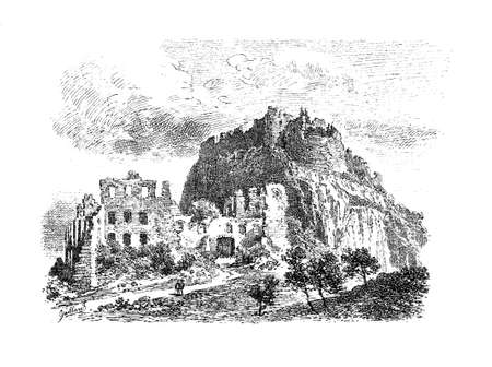 Germany, vintage engraving of the ruins of Hohentwiel fortress built in year 915 and 5 times destroyed during the Thirty Years War in XVII century Stock Photo