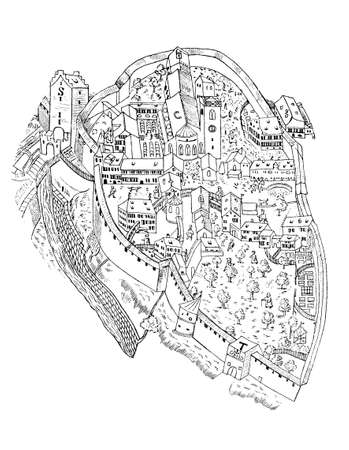 Plan of the Abbey of Saint Gall in Switzerland in year 1596, vintage illustration