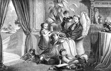 sweet portrait of convalescent mother cuddled by her toddlers in the drawing room, vintage engraving Stock Photo