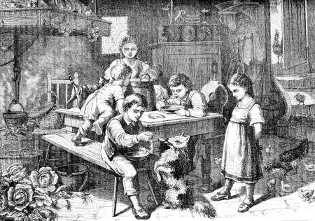 Vintage print of lunch time in farmhouse: boy, girls and children eat together in the kitchen and feed a pet dog