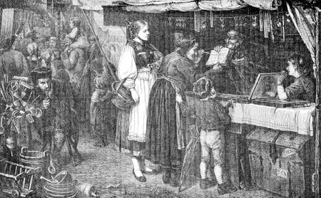Farm people visiting  the annual market to buy eyeglasses for the granny, vintage engraving Editorial