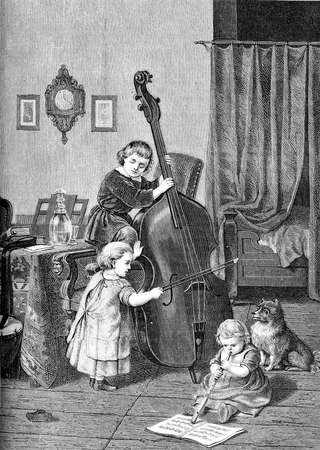 Family trio, young musicians with cello and flute: the toddlers make music at home