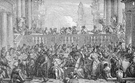 Vintage engraving reproduction of famous painting of Caana Marriage by Paolo Veronese, Renaissance Italian painter Stock Photo