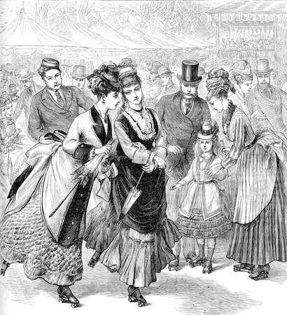 vintage engraving: leisure time on the roller skates