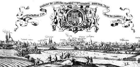 Nuremberg, city view in XVI century by Hans Sebald Lautensack, German printmaker