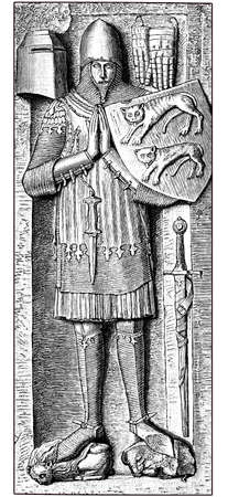 tomb of  a Hohenlohe knight, stone sculpture of a grave from the 13th century