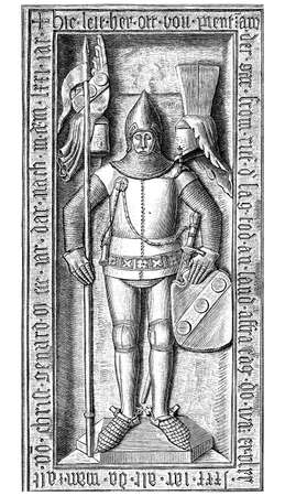 Otto II von Pienzenau stone sculpture on the grave knight in the Ebersberg parish church, Germany, year 1371