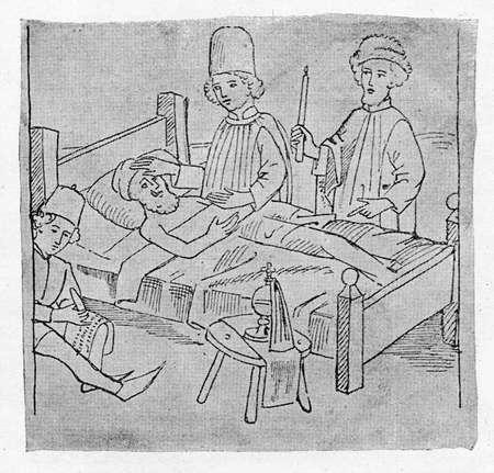 Last will, medieval illustration, XV century