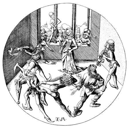Medieval illustration the morris dance by Israhel van Meckenem, German printmaker of XV century