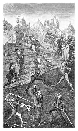 boys playing games outside with swords, XV century, medieval illustration