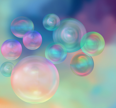 beautiful iridescent soap bubbles on colorful background, 3D rendering