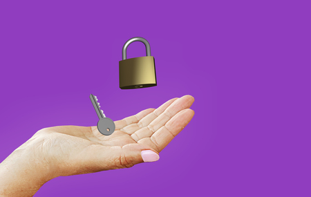 image symbolizing data protection and privacy: lock and key in your hand, on purple-violet background