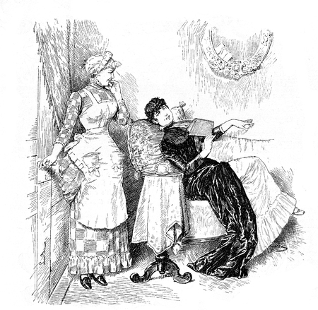 In the parlor, the maid mildly amused announces a visitor (a suitor ?) to the young lady relaxing on the sofa with a book