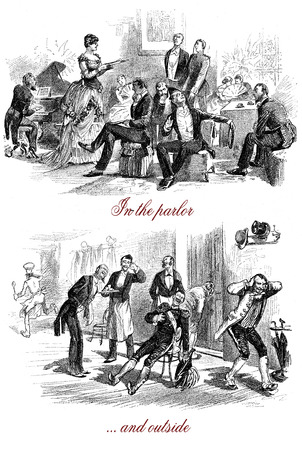 Butler, visitor and servants have fun eavesdropping the pitchy upper class musical evening behind the door of the salon Stock Photo