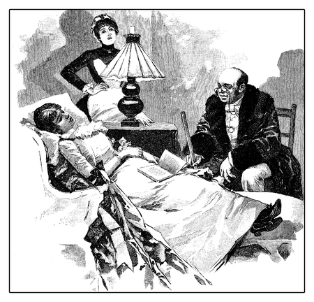 Doctor summoned from the maid at the bedside of the young lady with migraine
