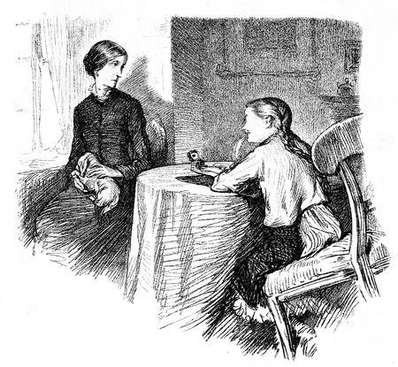 The impolite young girl mocks the spinster governess, who feels bad for that, old caricature,