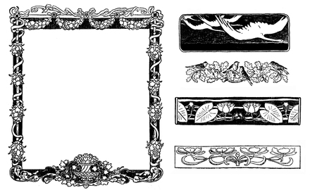 Typographic decorative art deco elements early 900: floral frame, banners, borders and end chapter decorations