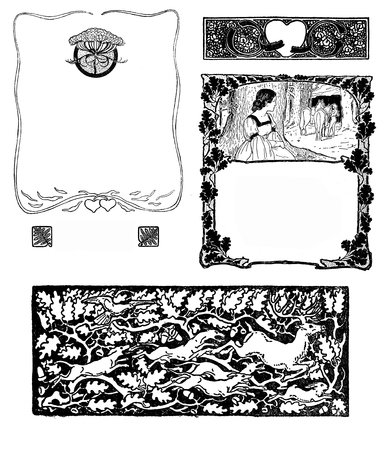 Typographic decorative art deco elements early 900:  stylized  floral frames and borders with romantic figures, hearts, wildlife and hunt as chapter decorations, vignettes and templates Stock Photo