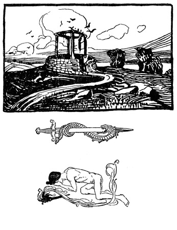 Typographic decorative art deco elements early 900: stylized landscape,sword and snake, human figure as banner, border and end chapter decoration Stock Photo