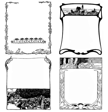 Typographic decorative art deco elements early 900: 4 stylized floral  frames with landscapes,leaves,bird,nature symbols as chapter decorations, vignettes and templates