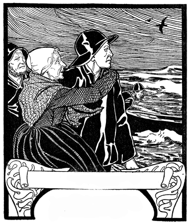 Typographic decorative art deco elements early 900: stylized chapter frontpiece with copy space representing a storm on sea, an old woman and people with a rescue boat,  as banner, border, template, label and chapter decoration