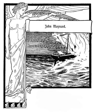 Typographic decorative art deco elements early 900: stylized chapter frontpiece with copy space representing a beautiful angel and a ship in the storm with the title (John Maynard) of a  well known German ballad as banner, border, template, label and chapter decoration Stock Photo