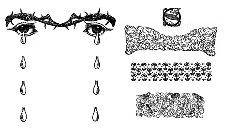 Typografic decorative art deco elements early 900:crying eyes with thorn crown and tears, nature, bird,leaves,  floral decor as banner, border and end chapter decoration