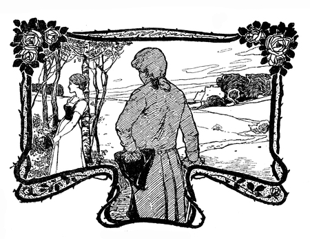 Typografic decorative art deco elements early 900: nature framed vignette with stylized romantic figures, young couple courting as banner, border, template, label and chapter decoration