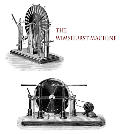 Electricity applications:  the Wimshurst machine, developed by the British inventor James Wimshurst (1832–1903),  is an electrostatic generator for generating high voltages based on electrostatic induction, using two contra-rotating disc  in a vertical plane.
