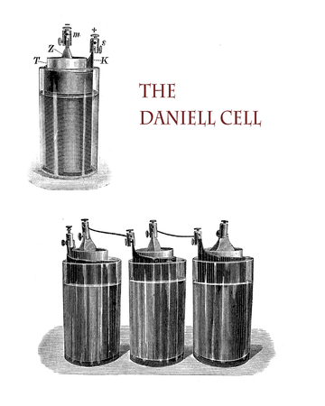 electricity and lab applications: Daniell electrochemical cell invented by John Frederic Daniell is an improvement of the voltaic pile to provide continuous electric current to a circuit, vintage illustration