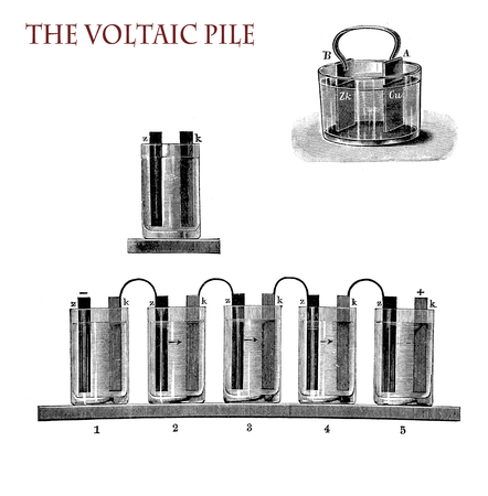 electricity and lab applications: voltaic pile, the first electrical battery to provide continuous electric current to a circuit, invented by Alessandro Volta, vintage illustration