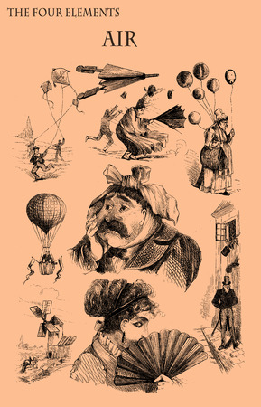 The four elements: Air. Caricature, fun and humor on situations related to air element printed on a 19th century magazine