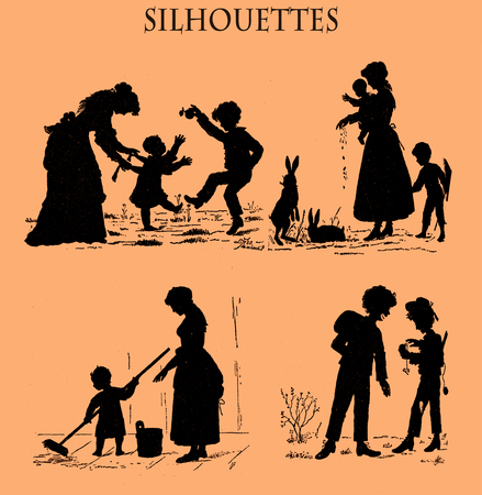 Caricature silhouettes in black from a Swiss magazine of 19th century depicting with humor family life portraits of mother and children: the home chores,feeding animals,cleaning floor,the first watch and playing around Stock Photo