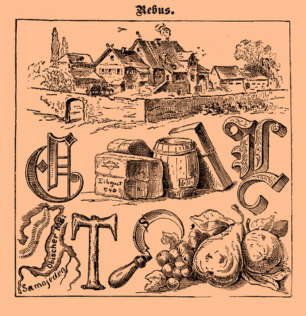 Illustrated rebus game printed on a 19th century Swiss magazine in German language