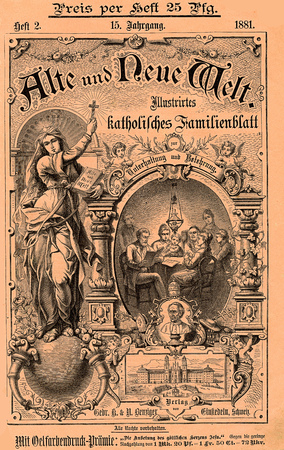 Cover of  Alte und neue Welt  (old and new World) catholic magazine  from Switzerland dated 1881 in German language