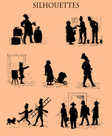 Caricature silhouettes in black from a Swiss magazine of 19th century depicting with humor street life portraits in Munich city: the fine arts students, the chimney sweeps, the brewer, the gendarme, the street vendors Stock Photo