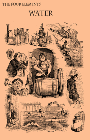 The four elements: Water. Caricature, fun and humor on situation related to water element printed on a 19th century magazine