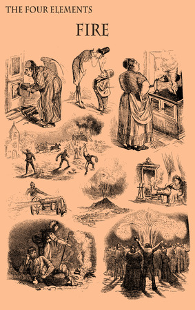 The four elements: Fire. Caricature, fun and humor on situations related to fire element printed on a 19th century magazine
