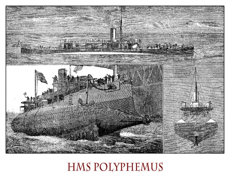 HMS Polyphemus was a British royal navy ironclad, torpedo ram  with torped tubes from 1881 used for coastal defence, litoral combat and to sink enemy anchored ships. Illustrations from a Swiss magazine of XIX century