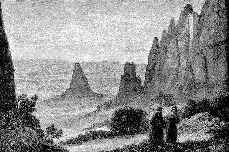 Vintage engraving of the Meteora orthodox monasteries on high rock pillars in central Greece Stock Photo