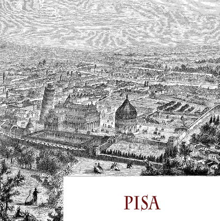 Birds eye view of Pisa, Italy and the monumental piazza dei Miracoli with the cathdral, the baptistery and the leaning tower, vintage engraving Stock Photo