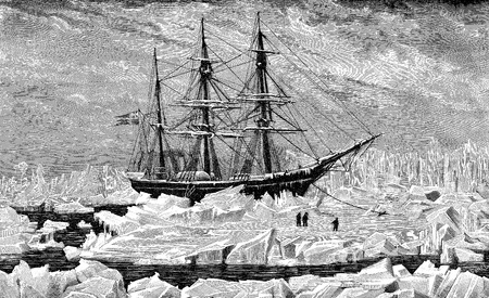 Vintage engraving of Swedish Vega arctic expedition to navigate with success through the Northeast Passage and the first voyage to circumnavigate Eurasia, years 1878-80