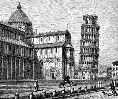 Pisa, Italy - Piazza dei miracoli with the cathedral and the leaning tower, vintage engraving